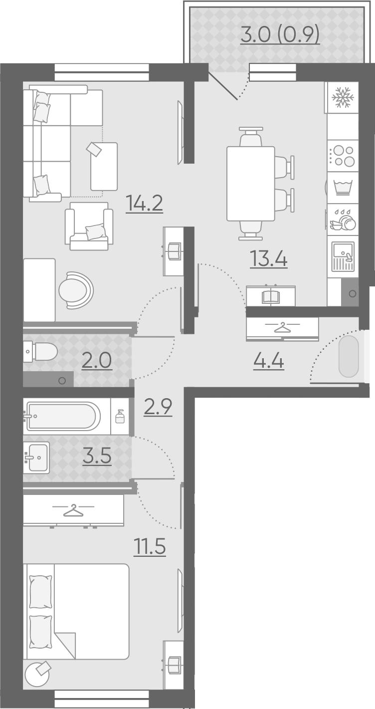2-к.кв, 54.9 м²