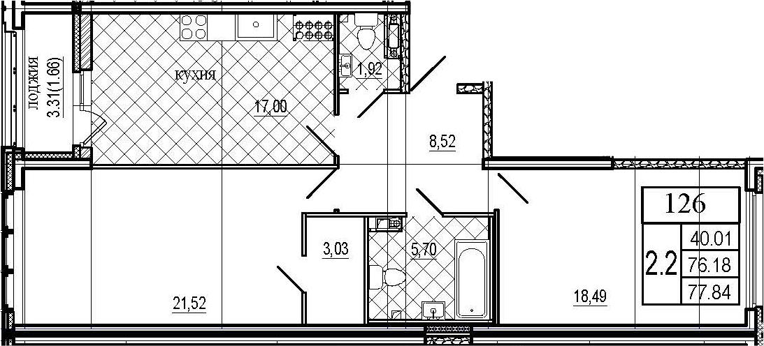 3Е-к.кв, 77.84 м²