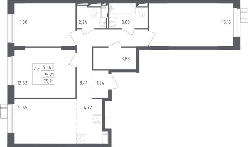4Е-комнатная, 75.21 м²– 2