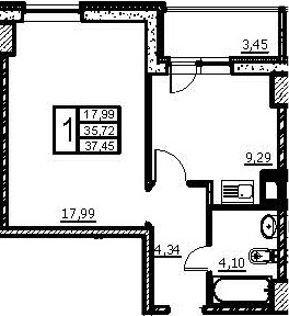 1-к.кв, 39.17 м²