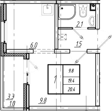 1-к.кв, 20.4 м²