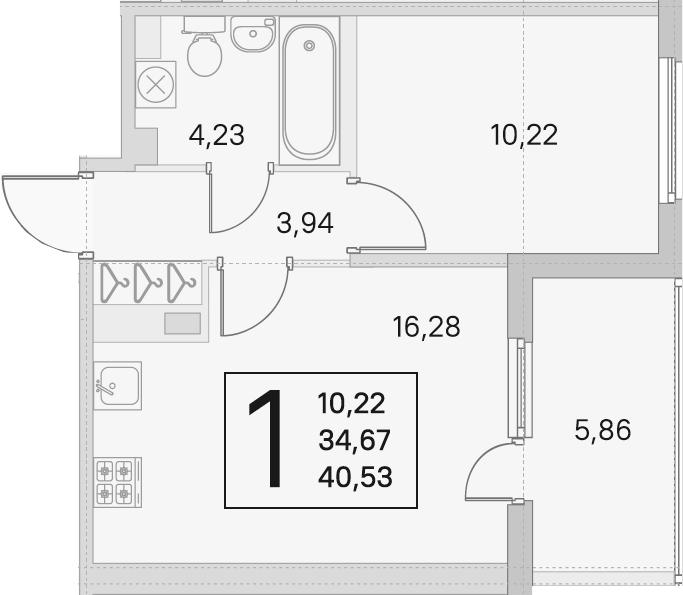 2Е-к.кв, 34.67 м², 3 этаж