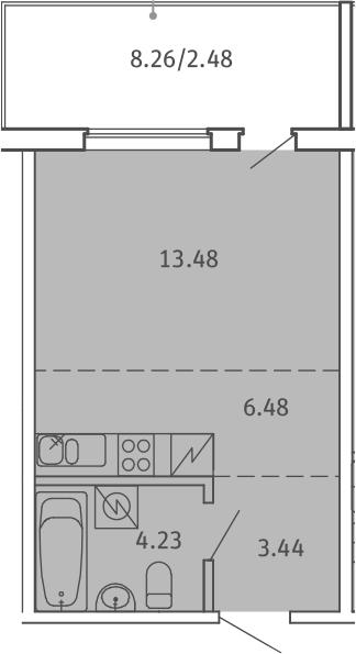 Студия, 30.11 м²– 2
