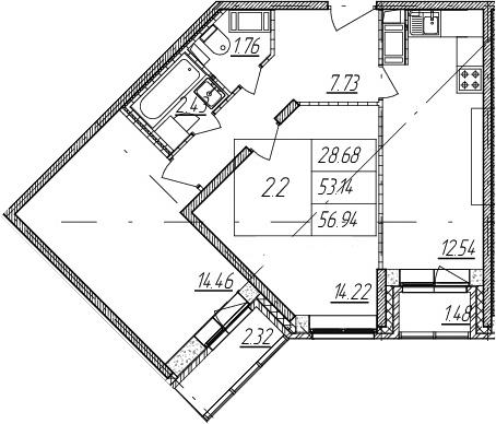 2-к.кв, 53.14 м²