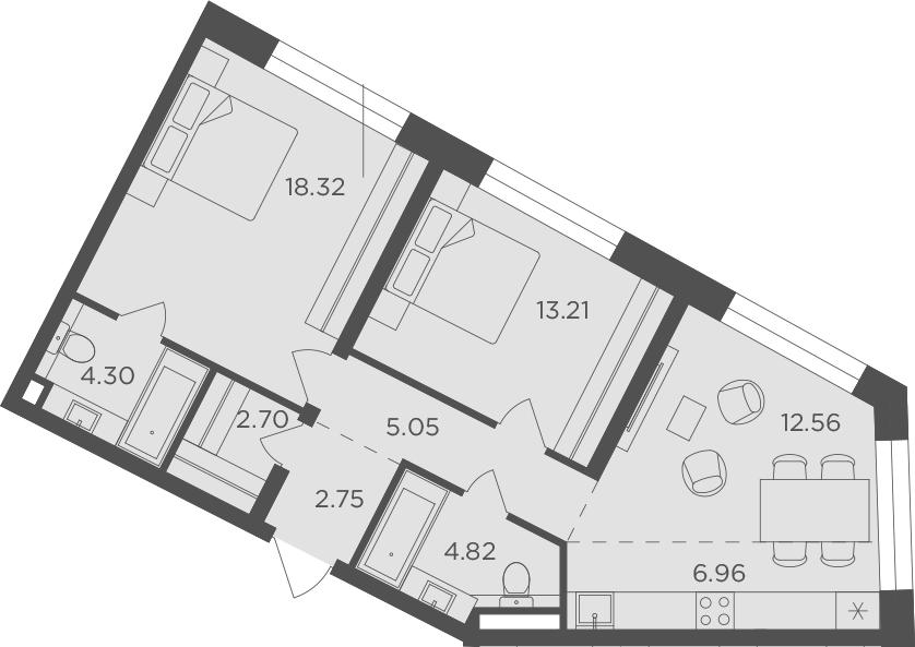3Е-к.кв, 70.67 м², 4 этаж