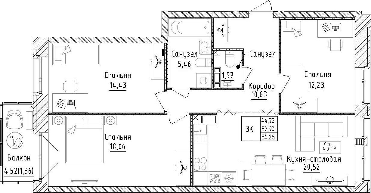 3-к.кв, 87.43 м²