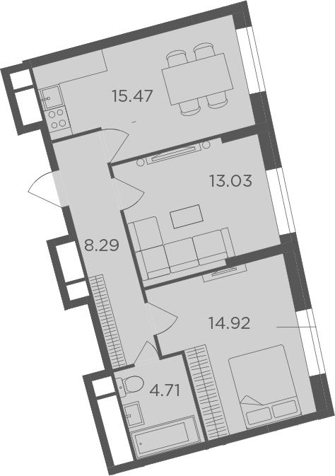 3Е-комнатная, 56.42 м²– 2