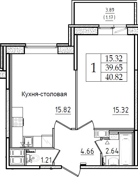 2Е-комнатная, 40.82 м²– 2