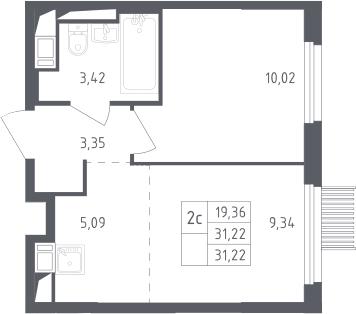 2Е-к.кв, 31.22 м², от 10 этажа