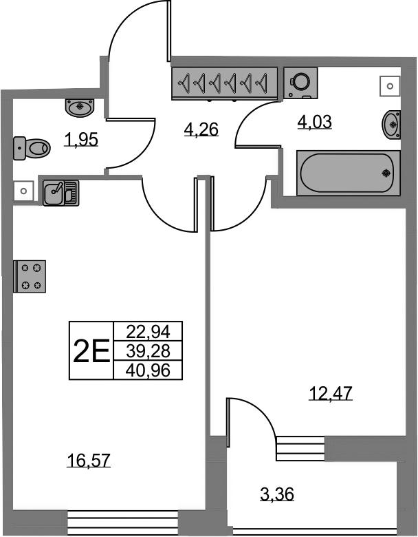 2-к.кв (евро), 42.64 м²