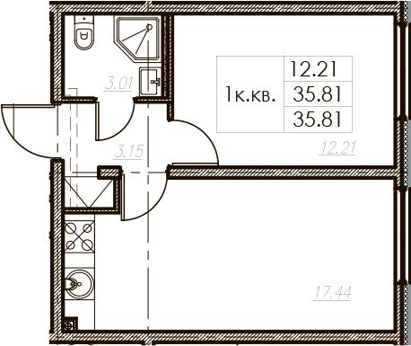 2Е-к.кв, 35.81 м², 2 этаж