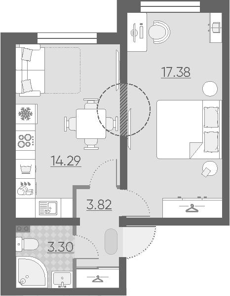 1-к.кв, 38.79 м²