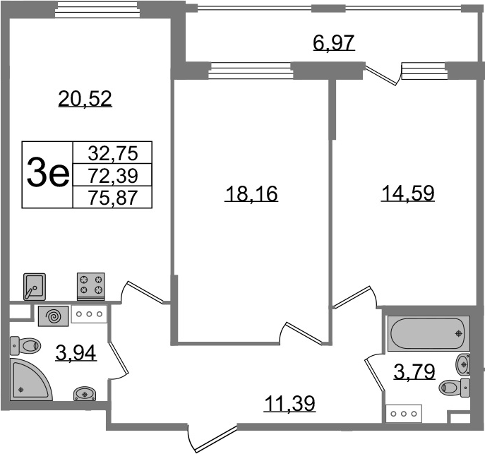 3-к.кв (евро), 79.35 м²