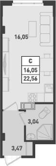 Студия, 22.56 м²