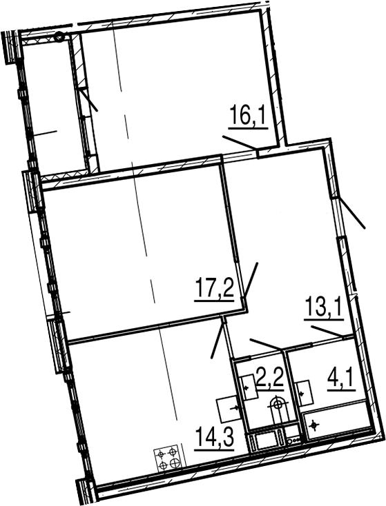 2-к.кв, 69 м², от 6 этажа