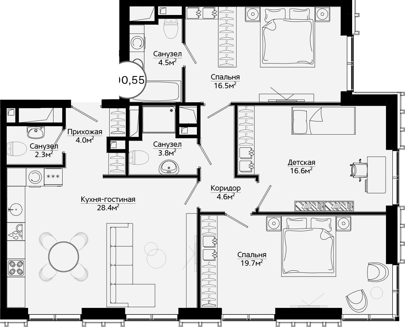 4Е-комнатная, 100.55 м²– 2