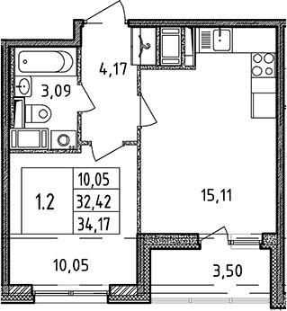 2Е-комнатная, 34.17 м²– 2