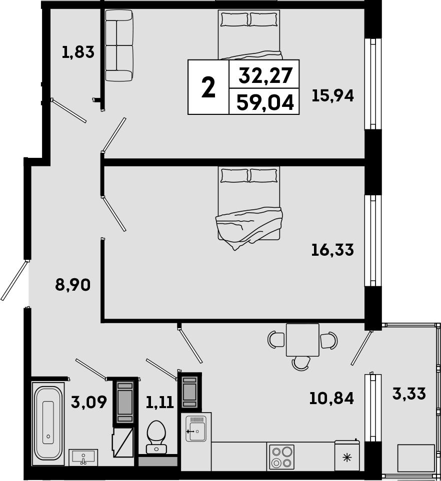 2-комнатная, 59.04 м²– 2