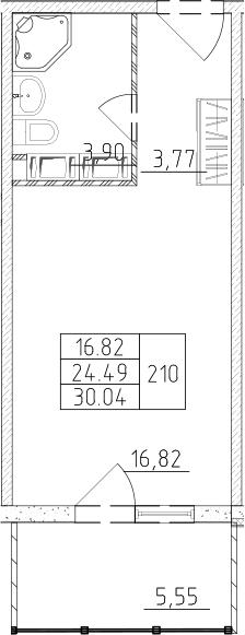 Студия, 30.04 м²