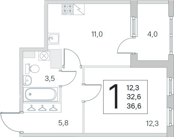 1-к.кв, 32.6 м², 5 этаж