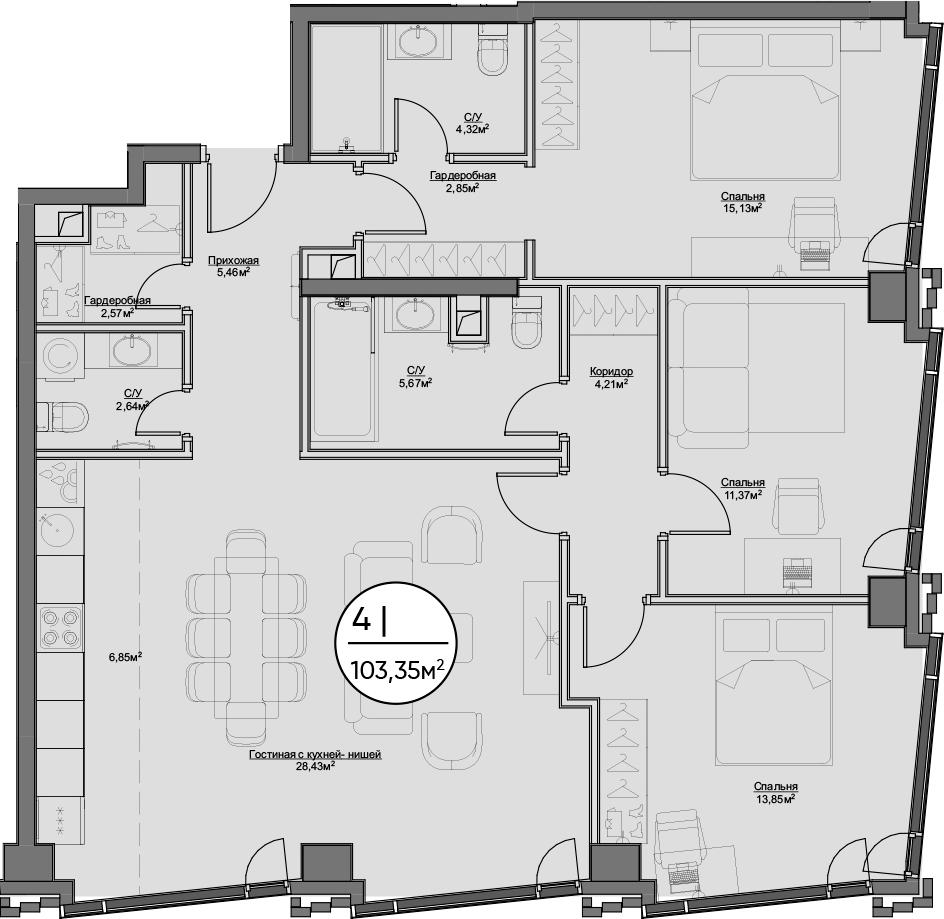 4Е-к.кв, 103.35 м²
