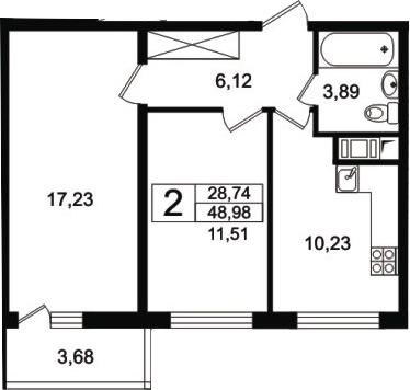 2-к.кв, 52.66 м²