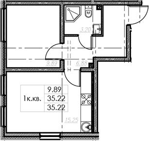 2Е-комнатная, 35.22 м²– 2