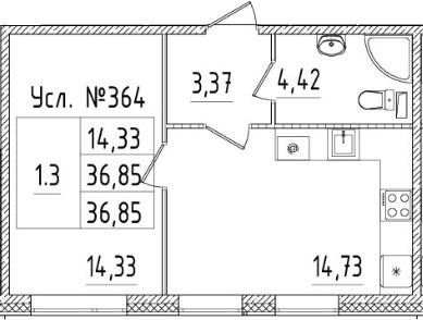 2-к.кв (евро), 36.85 м²