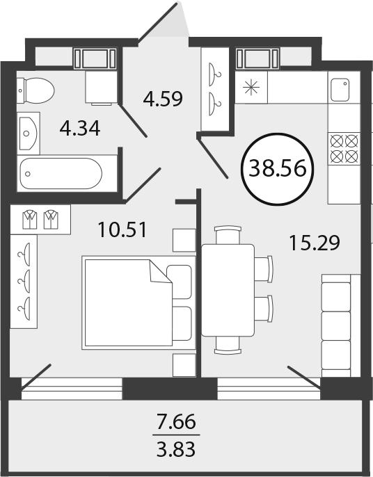 2Е-к.кв, 38.56 м², от 3 этажа