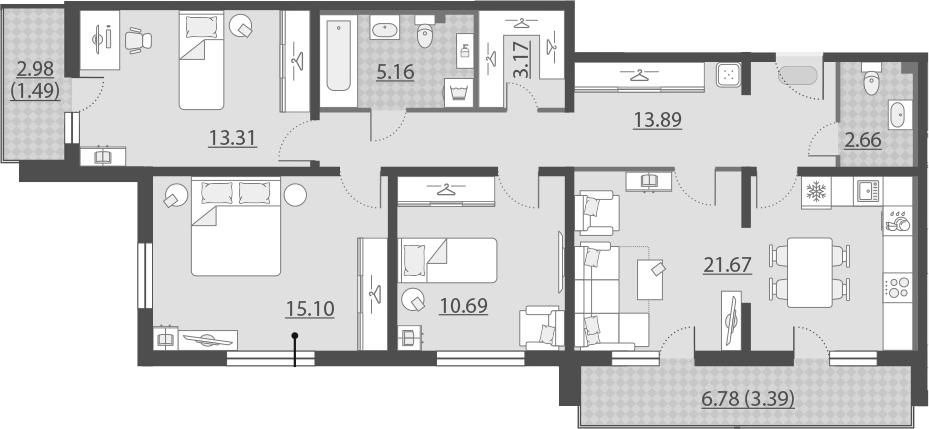 4-к.кв (евро), 95.41 м²