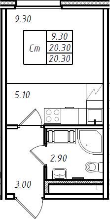 Студия, 20.6 м²– 2