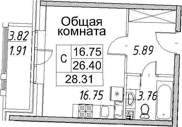 Студия, 30.22 м²