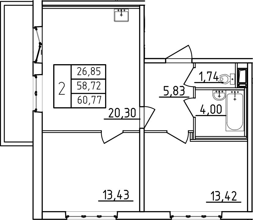 3-к.кв (евро), 65.55 м²