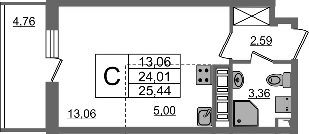 Студия, 24.01 м²– 2