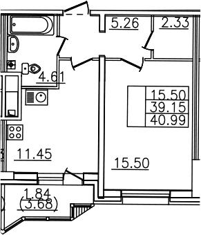 1-комнатная, 40.99 м²– 2