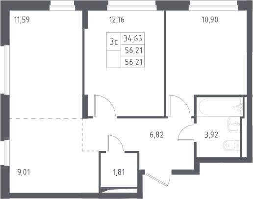 3Е-к.кв, 56.21 м²
