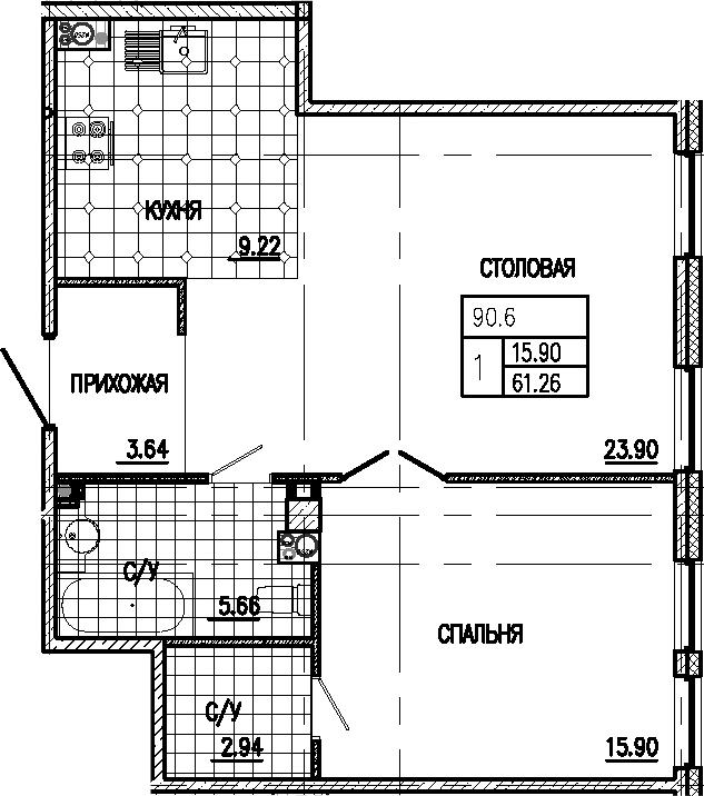 2-к.кв (евро), 61.26 м²