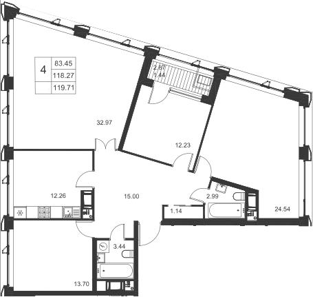 4-комнатная, 119.71 м²– 2