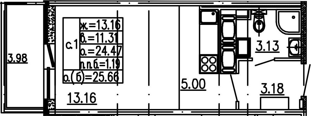 Студия, 24.47 м², 14 этаж