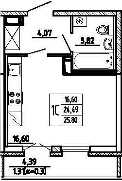 Студия, 25.8 м²