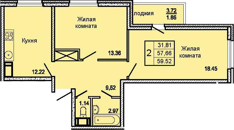 2-комнатная, 59.52 м²– 2