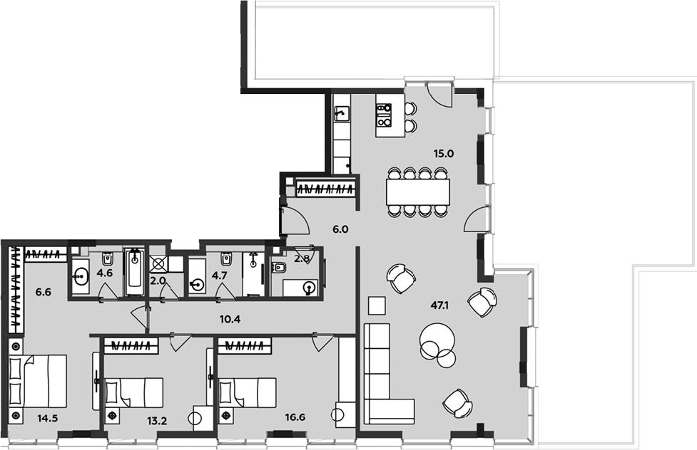 4Е-комнатная, 143.5 м²– 2