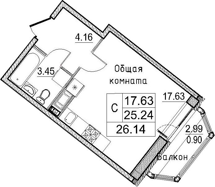 Студия, 28.24 м²