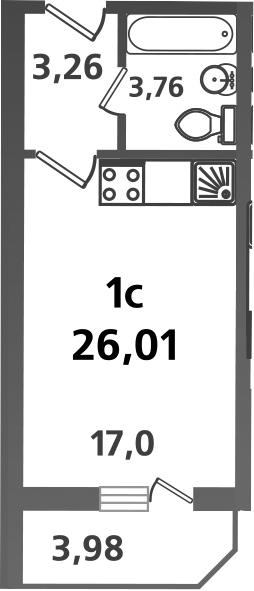 Студия, 26.01 м²– 2