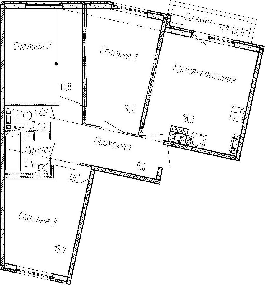 4Е-к.кв, 74.1 м², от 3 этажа