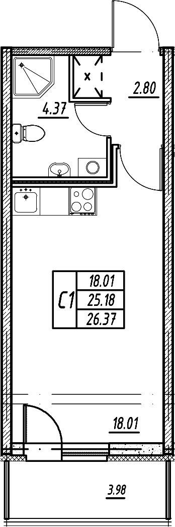 Студия, 25.18 м²– 2