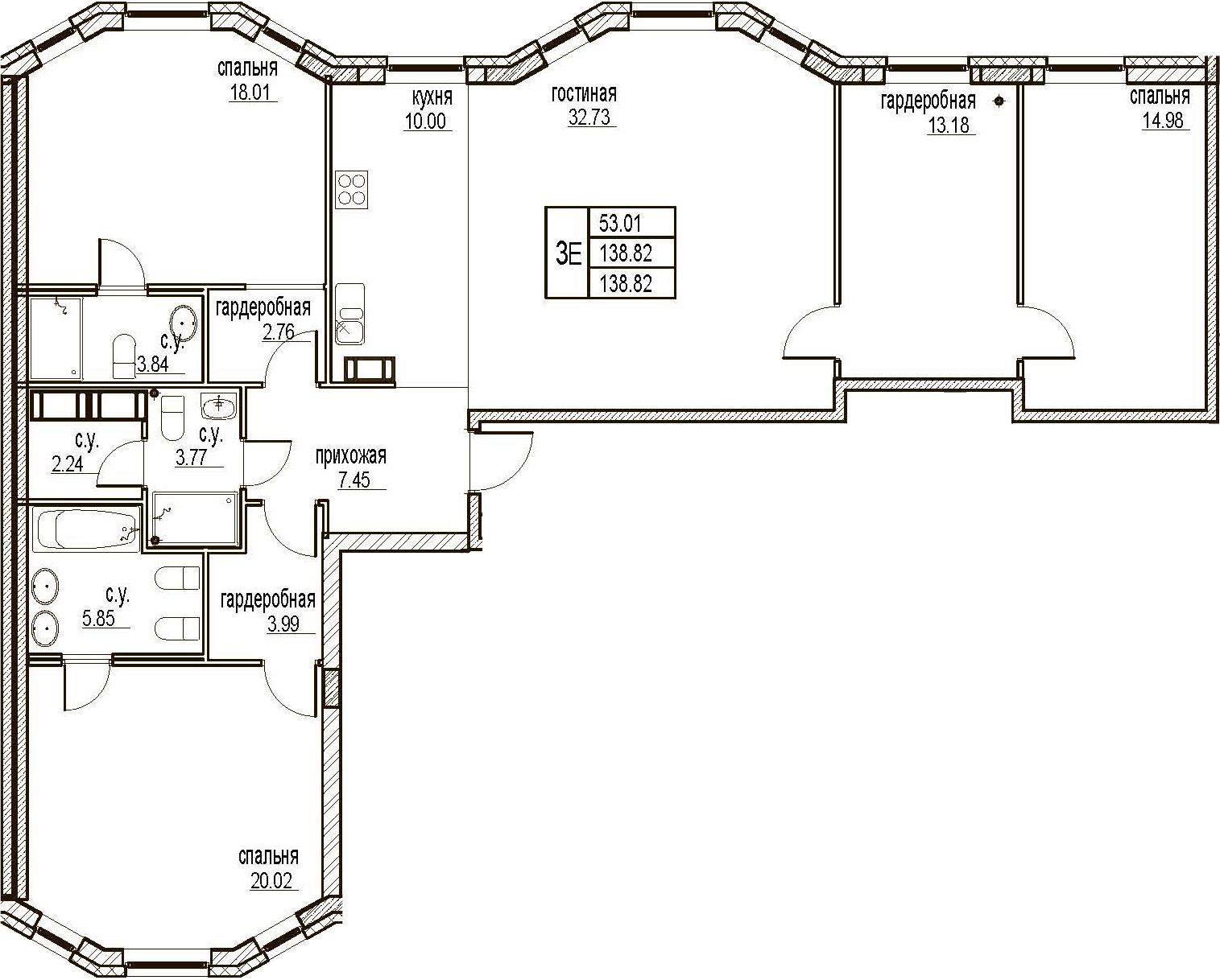 4Е-комнатная, 138.82 м²– 2