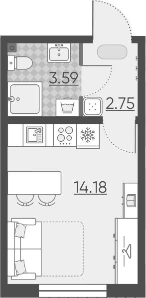 Студия, 20.52 м²– 2