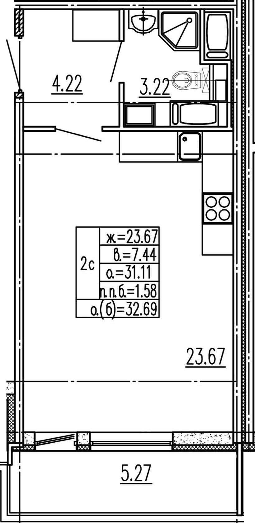 Студия, 31.11 м²– 2