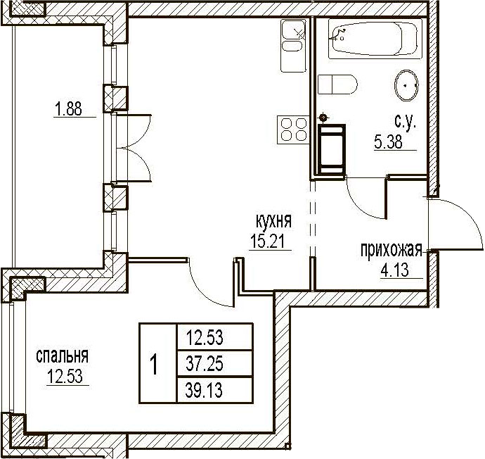 1-комнатная, 39.13 м²– 2